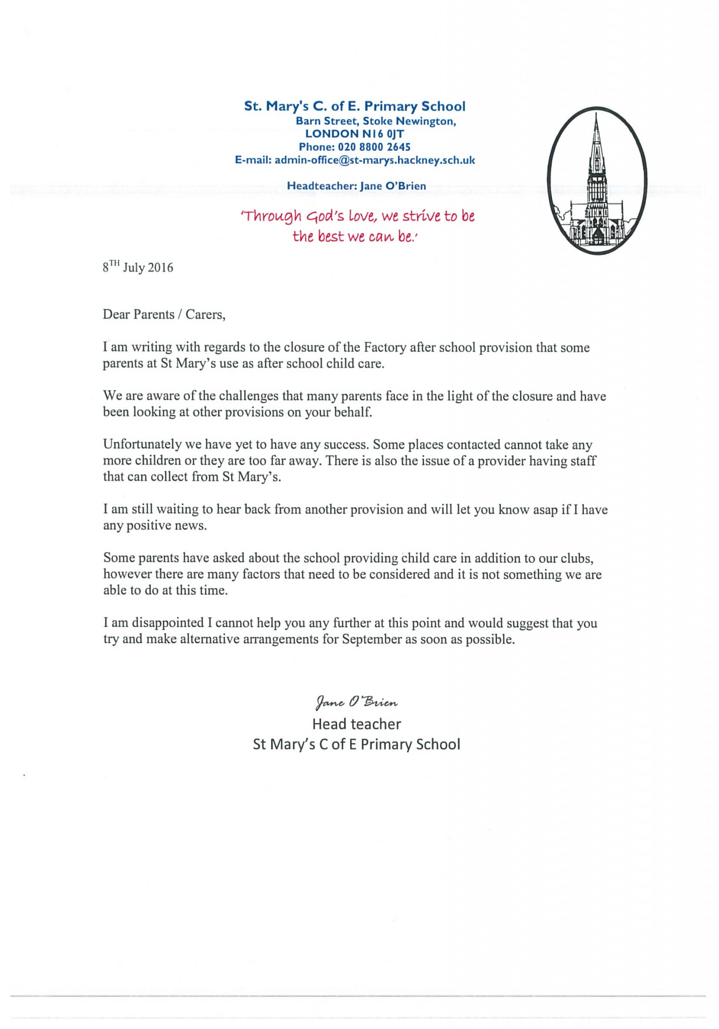 Teacher Resignation Letter To Parents from st-marys.hackney.sch.uk